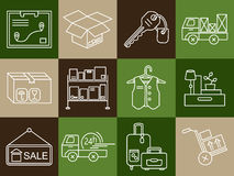 Warehouse logistic thin line icons. Royalty Free Stock Images