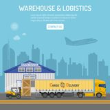 Warehouse and Logistics Concept. Warehouse, logistics banner and infographics with flat Icons delivery, truck, cityline and forklift. Vector illustration Stock Photography