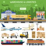 Warehouse and logistics banner. Warehouse, logistics banner and infographics with flat Icons shop, delivery, truck, cityline and forklift.  vector illustration Stock Image