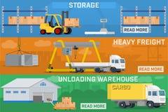Warehouse and logistics banner set. Stock Image