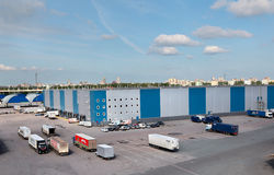 Warehouse logistics complex with unloading docks Royalty Free Stock Photos