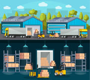 Warehouse Logistics Compositions. With product shipment to trucks and interior of storehouse and machinery  vector illustration Stock Image