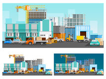 Warehouse And Logistics Compositions Set. Warehouse building and logistics orthogonal compositions set with cars flat  vector illustration Royalty Free Stock Photography