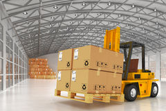 Warehouse logistics, packages shipment, delivery and loading concept Royalty Free Stock Images