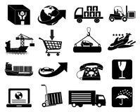 Warehouse logistics packaging and delivery icons set Stock Image