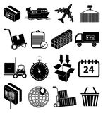 Warehouse logistics packaging delivery icons set Stock Photography
