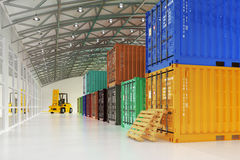 Warehouse logistics, shipment, delivery and freight transportation concept Stock Images