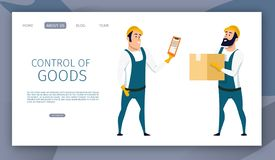 Warehouse Male Worker Control of Goods Delivery stock illustration
