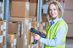 Warehouse Management System. Worker with barcode scanner Stock Images