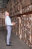 Warehouse manager checking his inventory Stock Photos