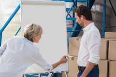 Warehouse manager during a meeting Royalty Free Stock Image