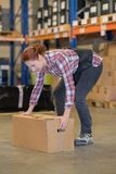 Warehouse manager picking up cardboard box in large warehouse Royalty Free Stock Photography