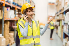 Warehouse manager talking on the phone looking around Royalty Free Stock Photo