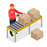 Warehouse manager or warehouse worker with bar code scanner. Checking goods on storage racks. Stock taking job. Flat 3d vector isometric illustration Stock Photos