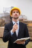 Warehouse manager wearing hard hat checking inventory Royalty Free Stock Image