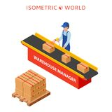 Warehouse manager or warehouse worker with bar code scanner checking goods on a conveyor belt. Flat 3d vector isometric illustration Stock Photos