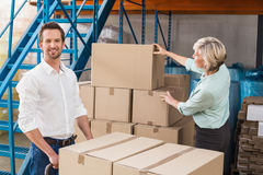 Warehouse managers loading a trolley Royalty Free Stock Images
