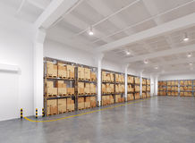 Warehouse with many racks and boxes Royalty Free Stock Photo