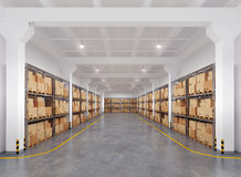 Warehouse with many racks and boxes Stock Image