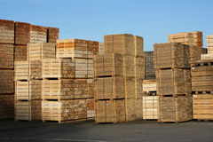 Warehouse Material. Stack of wooden pallets, ready for use for transportation and cargo purposes stock image
