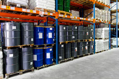 Warehouse metal barrels Stock Photo