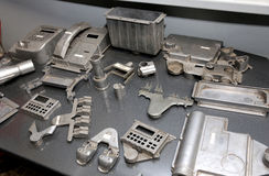 Warehouse metal workpieces and equipment obsolete mechanical pla Stock Images