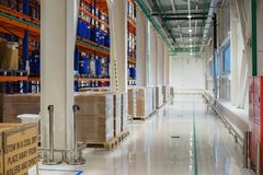 Warehouse and a modern system of targeted storage of products and goods. Royalty Free Stock Photos