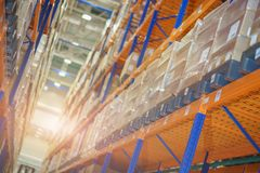 Warehouse and a modern system of targeted storage of products and goods. Stock Photos