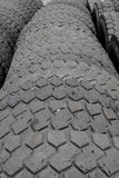 Warehouse of old used tires outdoors, old wheels Royalty Free Stock Image