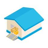 Warehouse with open door isometric 3d icon stock illustration