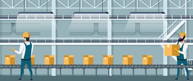 Warehouse Packing Conveyor using Human Resource. Worker Character in Overall Uniform Preparing Goods For Dispatch. Packingline with Cardboard Box on Factory vector illustration