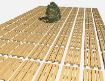 Warehouse pallets and green tree. Royalty Free Stock Photo