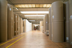 Warehouse (paper and cardoboard) in paper mill Royalty Free Stock Photos