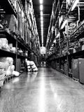 Warehouse. A warehouse in perspective captures Stock Photography