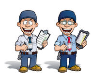 Warehouse - Prison - Courier - Zoo -- Manager - Blue. Cartoon illustration of a happy supervisor filling a check list. Two versions: 1) on with a pen on a Royalty Free Stock Photography