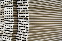 Warehouse production and woodworking. Medium density fiberboard typesetting. Selective focus.  royalty free stock photo