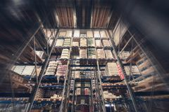 Warehouse Products Storage. Huge Food Storage Facility. Tall Warehouse Racks royalty free stock photography