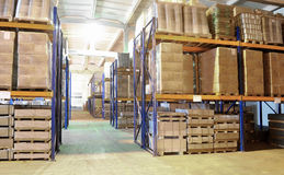 Warehouse with rack arrangement Royalty Free Stock Photo