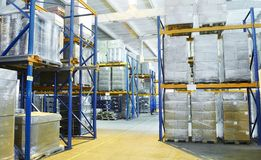 Warehouse with rack arrangement Royalty Free Stock Photos