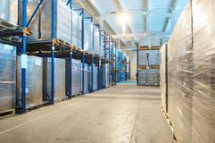 Warehouse with rack arrangement Stock Images