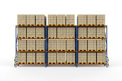 Warehouse rack with cardboard boxes royalty free stock image