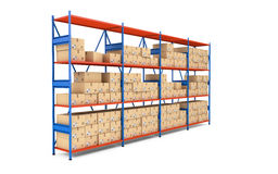Warehouse rack full of cardboard boxes. 3d rendering Stock Photos