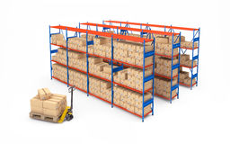 Warehouse rack full of cardboard boxes. 3d rendering Stock Images