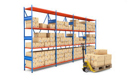 Warehouse rack full of cardboard boxes. 3d rendering Royalty Free Stock Photography