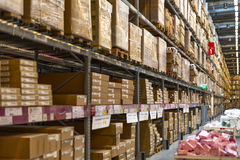 Warehouse. Rack of goods in a warehouse row Stock Photography