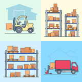 Warehouse rack shelving loader box loading van set Stock Images