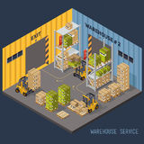 Warehouse racking and forklift and load. Royalty Free Stock Photos