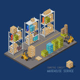 Warehouse racking and forklift and load. The sorting process technology goods. Warehouses several compartments royalty free illustration