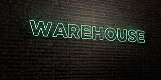 WAREHOUSE -Realistic Neon Sign on Brick Wall background - 3D rendered royalty free stock image Stock Images