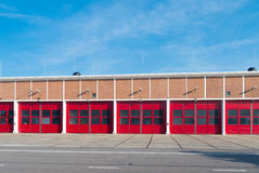 Warehouse with red doors Stock Photo